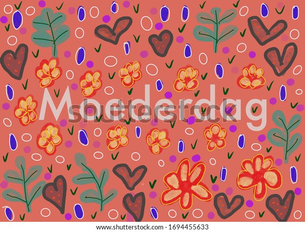 Dutch word Moederdag (Mothers day) on a pink background with flowers and leaves.