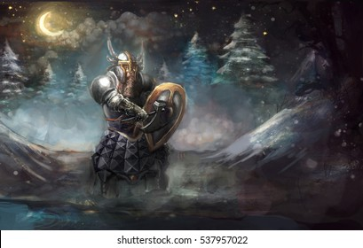 Dwarf knight on winter cold