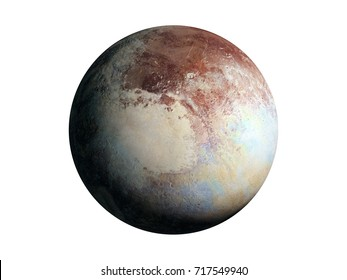 dwarf planet Pluto isolated on white background, elements of this image are furnished by NASA (3d rendering)