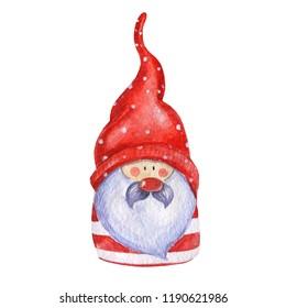 Dwarf Santa in a red cap and a beard