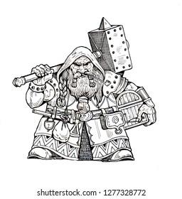 Dwarf with warhammer drawing. Ink illustration.