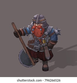dwarf warrior hand painted character isolated