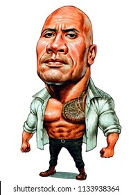 Dwayne Douglas Johnson, also known by his ring name The Rock, is an American actor, producer, and semi-retired professional wrestler. Illustration,Caricature,Design,July,14,2018