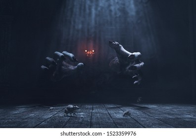 The dwelling,The place has it own devil,Monster in haunted house,3d illustration