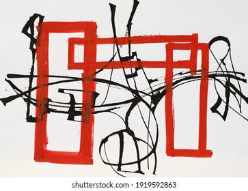 A dynamic calligraphic abstraction, with cola pen (black lines) and brush (red lines).
