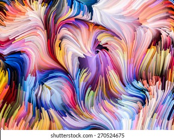 Dynamic Color series. Composition of streams of paint suitable as a backdrop for the projects on forces of nature, art, design and creativity