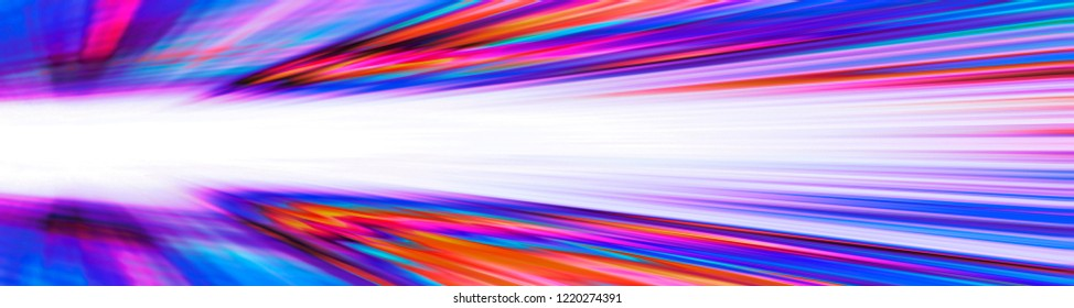 Dynamic colourful orange and blue blur banner with white copy space