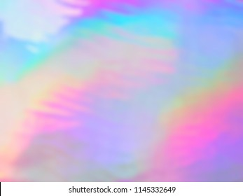 Dynamic Holographic iridescent blurry background. Vivid neon and pastel colors