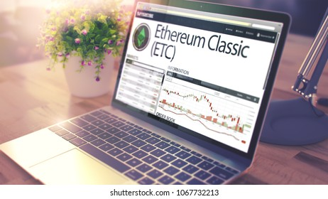 The Dynamics of Cost of Ethereum Classic - ETC on the Modern Laptop Screen. Cryptocurrency Concept. Tinted Image with Blurred Image. 3D Render .