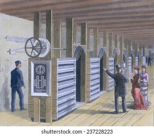 The Dynamo Room in the first Edison Electric Lighting Station at Pearl Street in lower Manhattan in 1882, Engraving with modern watercolor.