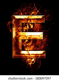 e, illustration of  letter with chrome effects and red fire on black background