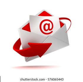 e mail and envelope 3d illustration isolated on white background
