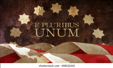 E Pluribus Unum. USA motto. Stars and Stripes