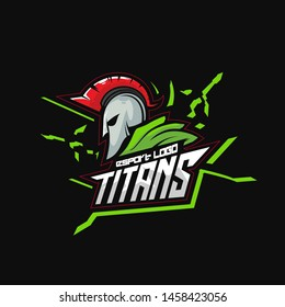 e sport logo titans ideal for design isolated on black color background