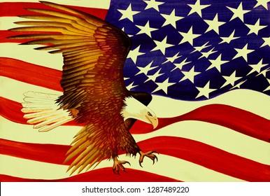 Eagle and American Flag