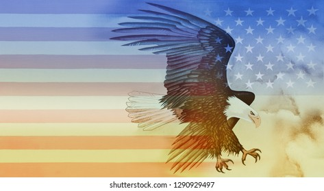 Eagle and American Flag - Oil on Canvas