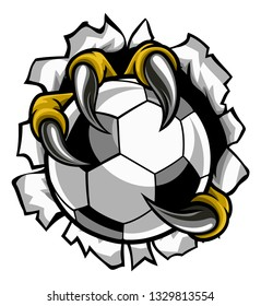 Eagle, bird or monster claw or talons holding a soccer football ball and tearing through the background. Sports graphic.
