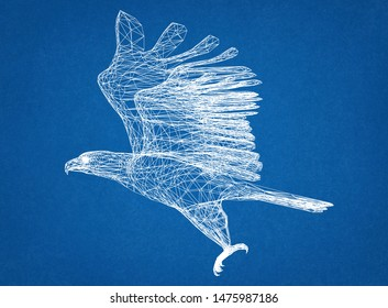 eagle drawing - 3D rendering