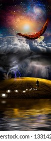 Eagle flies over the storm. Man loses light bulbs or ideas. 3D rendering