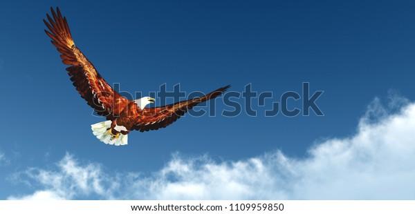 Eagle Flying Above Clouds 3d Rendering Stock Illustration 1109959850