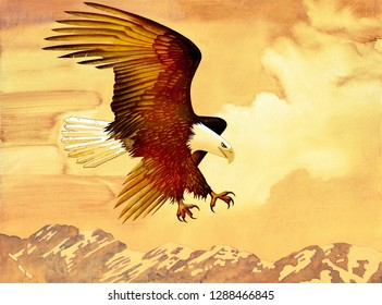 Eagle Flying Free - Oil Painting on Canvas