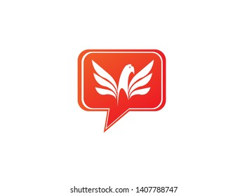 Eagle head with wings logo design illustration in chat icon