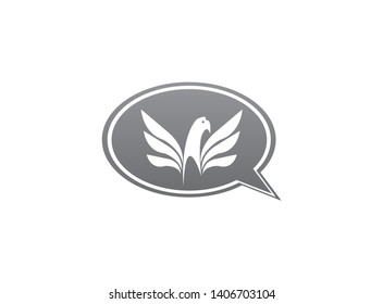Eagle head with wings slogan logo design illustration in chat icon