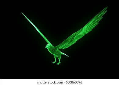Eagle in Hologram Wireframe Style. Nice 3D Rendering