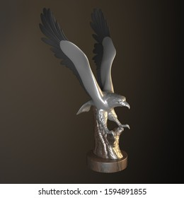 eagle isolated on grey background. 3d rendering