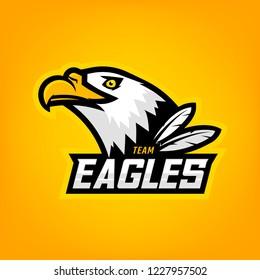 Eagle logo for sport team. Emblem, team mascot, blazon, t-shirt print, label, logotype template.
