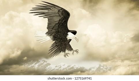 Eagle Over Mountains - Digital Illustration