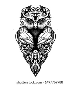 The eagle owl. Owl black and white paint.