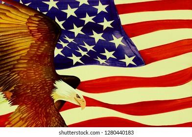 Eagle and USA Flag - Oil on Canvas and Digital Illustration