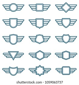 Eagle wings army badges. Aviation wing labels. Winged pilot emblems. Label and insignia military illustration