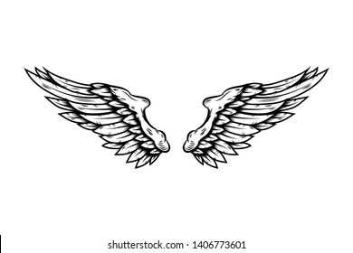 Eagle wings in tattoo style isolated on white background. Design element for poster, t shirt, card, emblem, sign, badge.