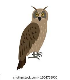 Eagle-owl bird icon on white background.