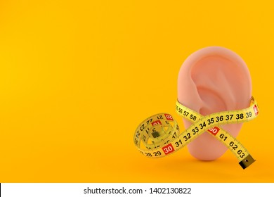 Ear with centimeter isolated on orange background. 3d illustration