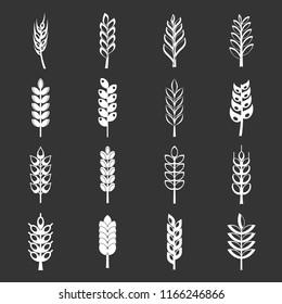 Ear corn icons set white isolated on grey background