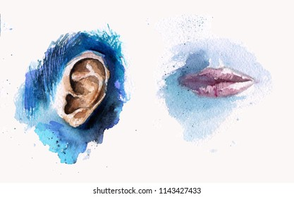Ear and mouth in watercolor paints, layers of different colors, in blue and purple shades. Ear and mouth separately.