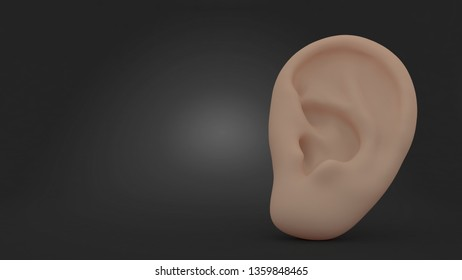 Ear on gray background. 3d illustration