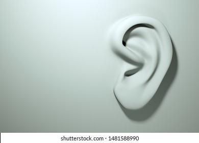 Ear on white surface, concept, modeling. Rumors and eavesdropping. Ear disease and treatment. 3D render