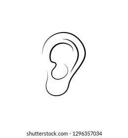 ear, sense, sound, human hand drawn icon on white background