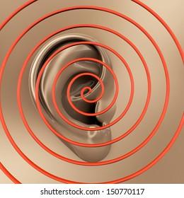 Ear - sound - 3d rendered illustration