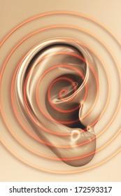 Ear sound - 3d rendered illustration