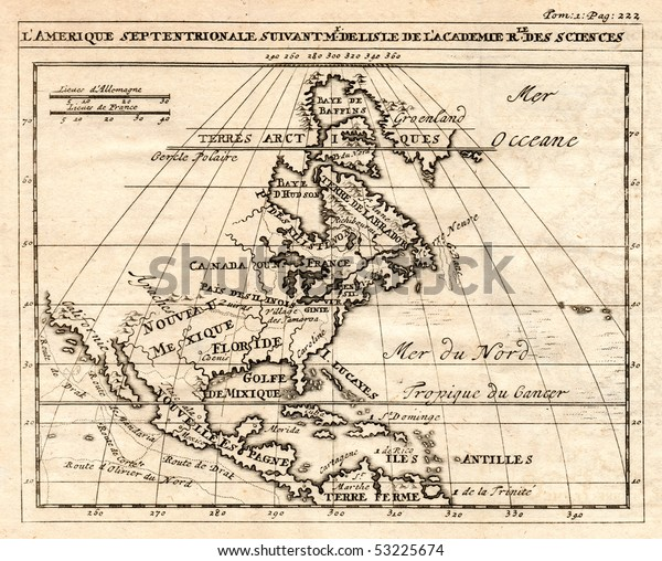 Early 1712 Antique Map North America Stockillustration 53225674