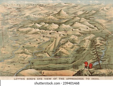 Early 20th century British map shows red coated soldiers looking into the Indus Valley and Afghanistan from Indian territory.