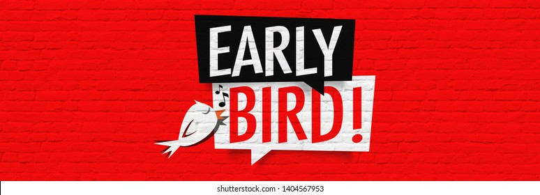 Early bird on a red brick wall