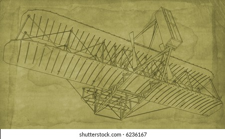 An early blueprint style illustration of the first Wright Bother's Glider.