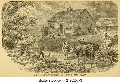Early home of the James boys in Clay County, Missouri. James' father was a minister who died on his trip to prospect gold in California when Frank was nine and Jesse was four.