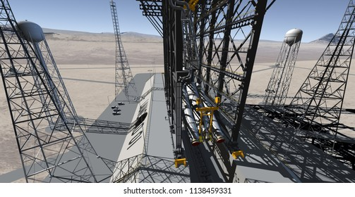 Early Morning At The Desert Launch Site - 3D Illustration